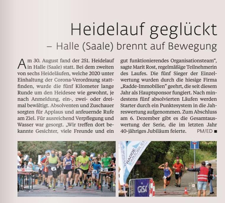 Top-Magazin Ausgabe Herbst 2020 über Heidelauf