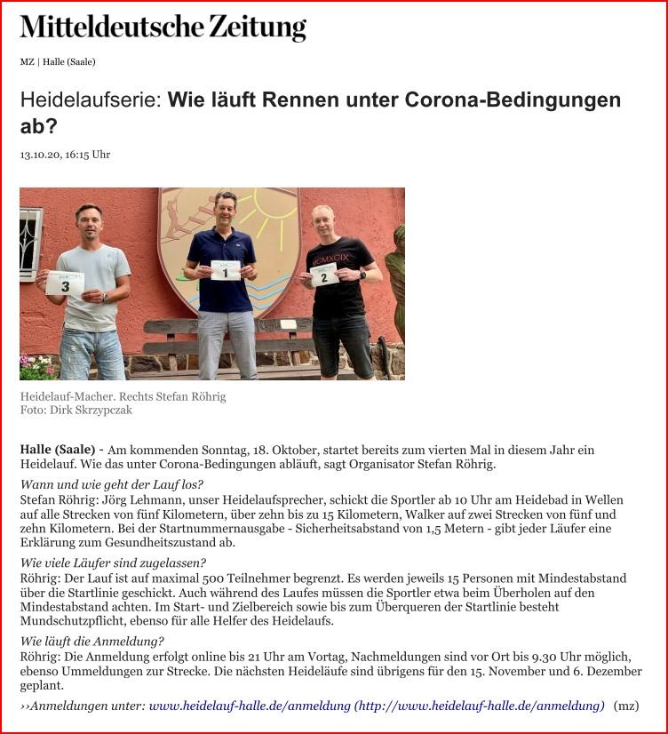 Mitteldeutsche Zeitung vom 13.10.2020